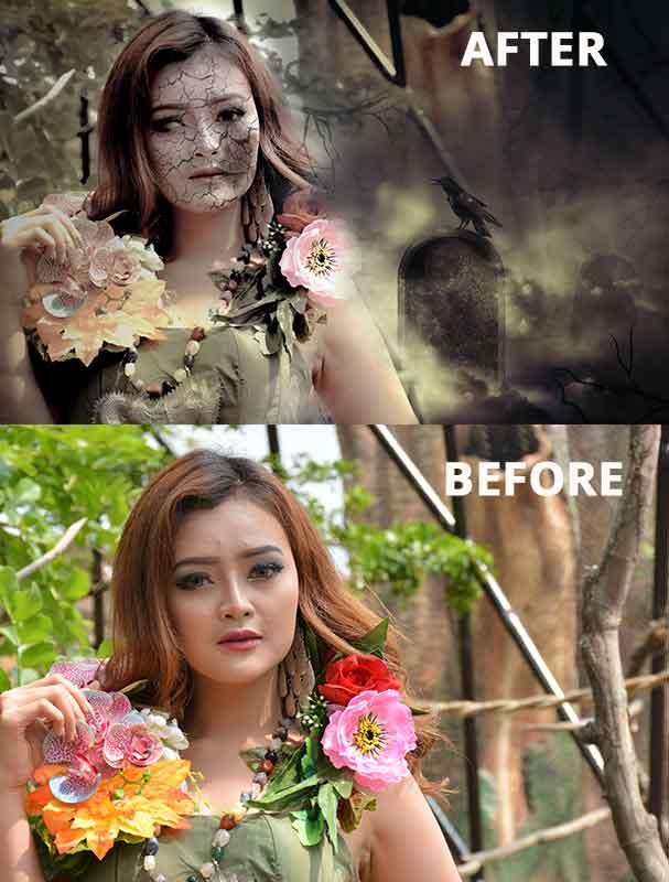 After Before wajah retak